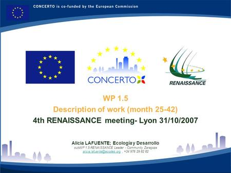 RENAISSANCE es un proyecto del programa CONCERTO co-financiado por la Comisión Europea dentro del Sexto Programa Marco 1 WP 1.5 Description of work (month.