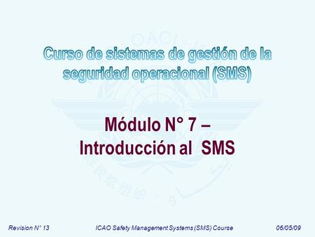 Revision N° 13ICAO Safety Management Systems (SMS) Course06/05/09 Módulo N° 7 – Introducción al SMS.