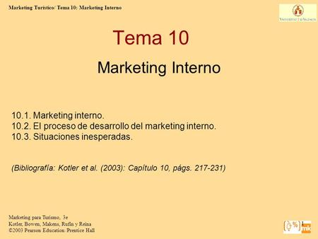 Tema 10 Marketing Interno Marketing interno.