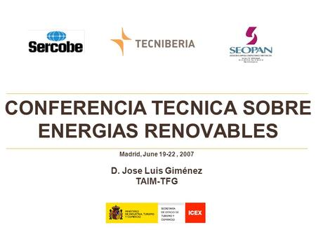 CONFERENCIA TECNICA SOBRE ENERGIAS RENOVABLES