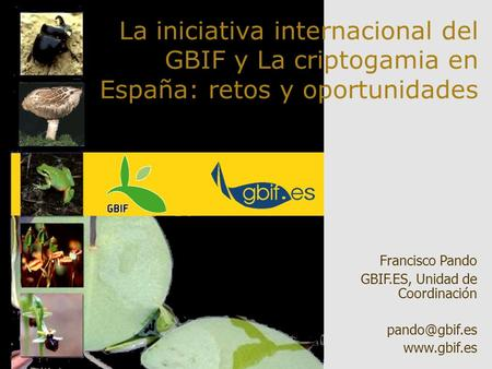 La iniciativa internacional del GBIF y La criptogamia en España: retos y oportunidades Thank you. In my lecture, I will talk about what herbaria are from.