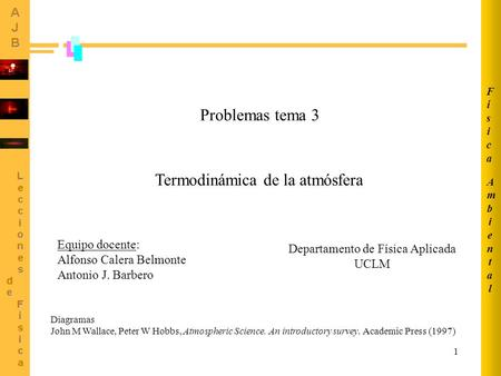 1 Problemas tema 3 Termodinámica de la atmósfera Diagramas John M Wallace, Peter W Hobbs, Atmospheric Science. An introductory survey. Academic Press (1997)