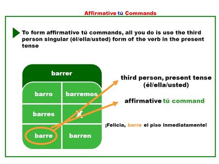 X barrer 2. 3.5. 4.1. barres barrebarren barremosbarro Affirmative tú Commands To form affirmative tú commands, all you do is use the third person singular.