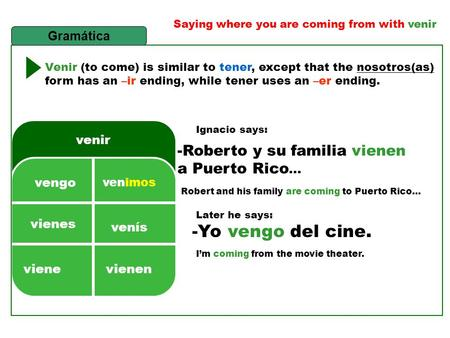 Saying where you are coming from with venir Venir (to come) is similar to tener, except that the nosotros(as) form has an –ir ending, while tener uses.