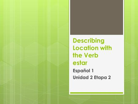 Describing Location with the Verb estar Español 1 Unidad 2 Etapa 2.
