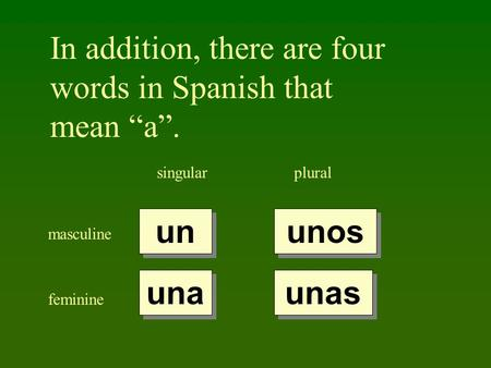 In addition, there are four words in Spanish that mean a. singularplural masculine feminine un una unos unas.