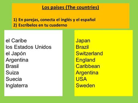 Los países (The countries)