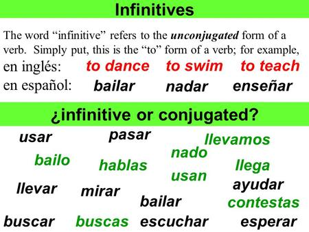 ¿infinitive or conjugated?