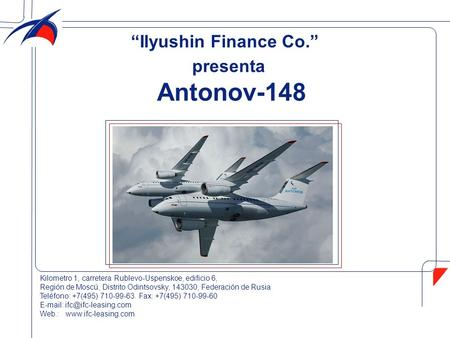 "Antonov-148 ""Ilyushin Finance Co."" presenta"