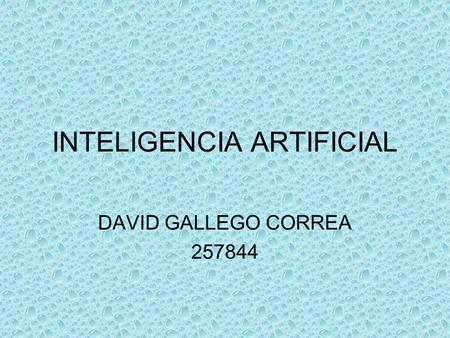 INTELIGENCIA ARTIFICIAL DAVID GALLEGO CORREA 257844.
