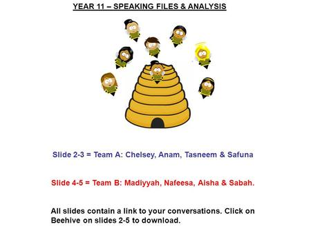 YEAR 11 – SPEAKING FILES & ANALYSIS Slide 2-3 = Team A: Chelsey, Anam, Tasneem & Safuna Slide 4-5 = Team B: Madiyyah, Nafeesa, Aisha & Sabah. All slides.