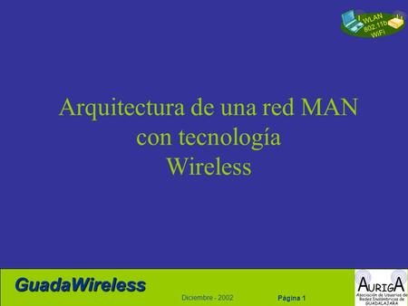 WLAN 802.11b WiFi Diciembre - 2002 GuadaWireless Página 1 Arquitectura de una red MAN con tecnología Wireless.