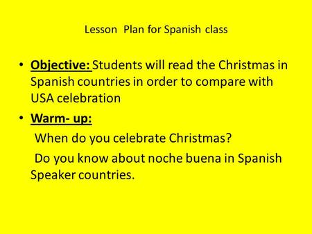Lesson Plan for Spanish class