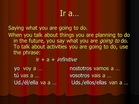 Ir a… Saying what you are going to do. When you talk about things you are planning to do in the future, you say what you are going to do. To talk about.