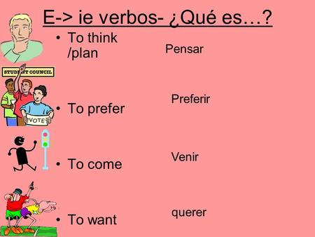 E-> ie verbos- ¿Qué es…? To think /plan To prefer To come To want Pensar Preferir Venir querer.