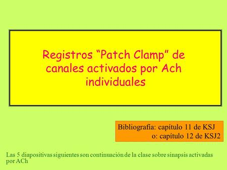 "Registros ""Patch Clamp"" de canales activados por Ach individuales"