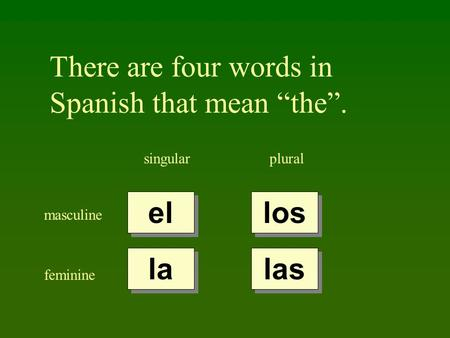 "There are four words in Spanish that mean ""the""."