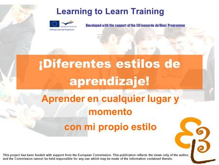 Learning to learn network for low skilled senior learners ¡Diferentes estilos de aprendizaje! Learning to Learn Training Aprender en cualquier lugar y.