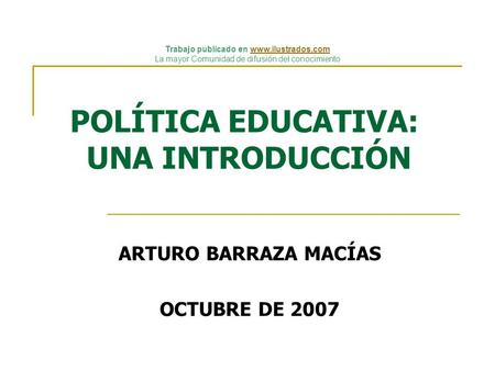 POLÍTICA EDUCATIVA: UNA INTRODUCCIÓN