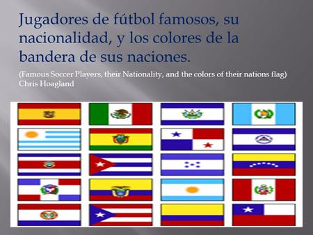 Jugadores de fútbol famosos, su nacionalidad, y los colores de la bandera de sus naciones. (Famous Soccer Players, their Nationality, and the colors of.