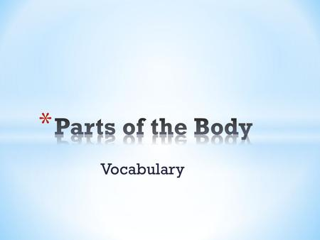 Vocabulary. Leg La pierna Mouth La boca Arm El brazo.
