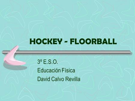 HOCKEY - FLOORBALL 3º E.S.O. Educación Física David Calvo Revilla.