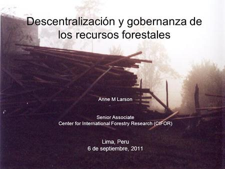 Descentralización y gobernanza de los recursos forestales Anne M Larson Senior Associate Center for International Forestry Research (CIFOR) Lima, Peru.