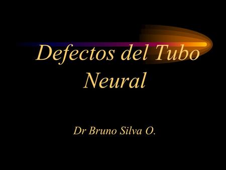 Defectos del Tubo Neural Dr Bruno Silva O.