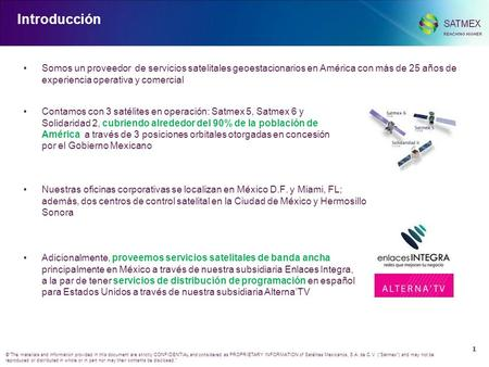 0 ©The materials and information provided in this document are strictly CONFIDENTIAL and considered as PROPRIETARY INFORMATION of Satélites Mexicanos,