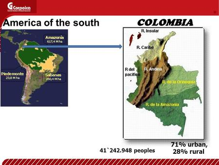 41`242.948 peoples 71% urban, 28% rural COLOMBIA America of the south.