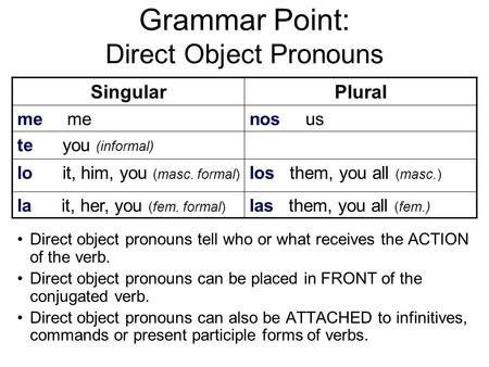 Grammar Point: Direct Object Pronouns SingularPlural me nos us te you (informal) lo it, him, you (masc. formal) los them, you all (masc.) la it, her, you.