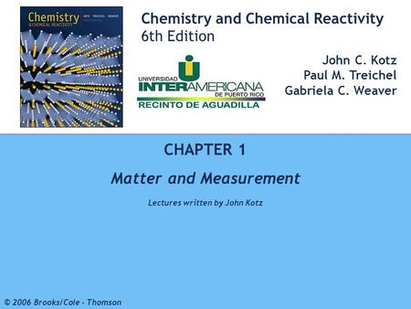 Matter and Measurement Lectures written by John Kotz