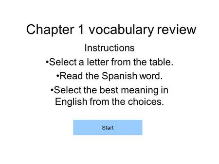 Chapter 1 vocabulary review Instructions Select a letter from the table. Read the Spanish word. Select the best meaning in English from the choices. Start.