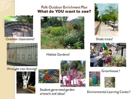 Polk Outdoor Enrichment Plan What do YOU want to see? Environmental Learning Center? Student-generated garden artwork and ideas? Shade trees? Greenhouse.