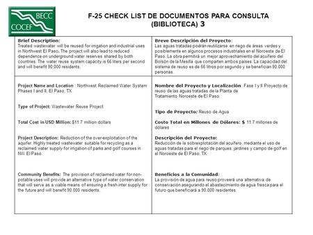F-25 CHECK LIST DE DOCUMENTOS PARA CONSULTA (BIBLIOTECA) 3 Brief Description: Treated wastewater will be reused for irrigation and industrial uses in Northwest.