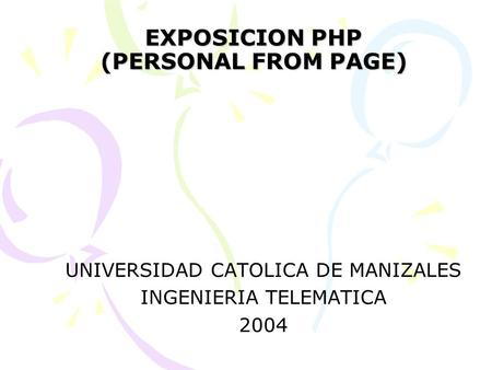 EXPOSICION PHP (PERSONAL FROM PAGE)