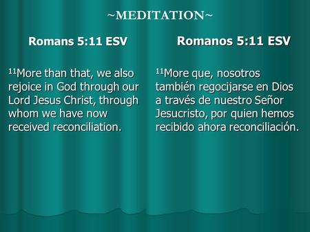 ~MEDITATION~ Romans 5:11 ESV Romans 5:11 ESV 11 More than that, we also rejoice in God through our Lord Jesus Christ, through whom we have now received.