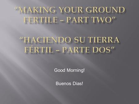 Good Morning! Buenos Dias!. Parable of the Sower of the Seed Luke 8:5-8;11-15 San Lucas 8:5-8;11-15.