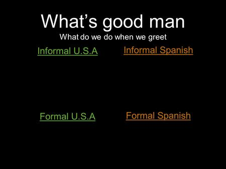 What's good man What do we do when we greet Informal U.S.A Formal U.S.A Informal Spanish Formal Spanish.