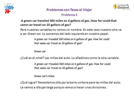 Problemas con Tasas al Viajar Problema 3 A green car traveled 360 miles on 6 gallons of gas. How far could that same car travel on 10 gallons of gas? Para.