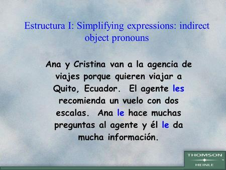 Estructura I: Simplifying expressions: indirect object pronouns