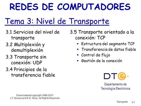 Tema 3: Nivel de Transporte REDES DE COMPUTADORES Some material copyright 1996-2010 J.F Kurose and K.W. Ross, All Rights Reserved 3.1 Servicios del nivel.