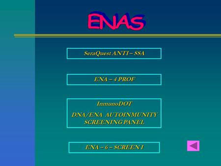 SeraQuest ANTI – SSA SeraQuest ANTI – SSA ENA – 4 PROF ENA – 4 PROF InmunoDOT DNA/ENA AUTOINMUNITY SCREENING PANEL DNA/ENA AUTOINMUNITY SCREENING PANEL.