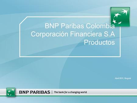 BNP Paribas Colombia Corporación Financiera S.A Productos