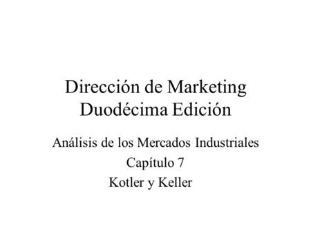 Dirección de Marketing Duodécima Edición