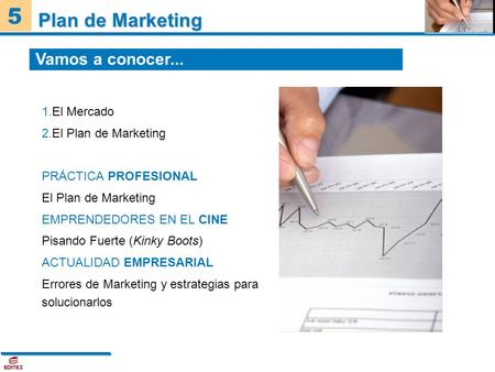 5 Plan de Marketing 1.El Mercado 2.El Plan de Marketing PRÁCTICA PROFESIONAL El Plan de Marketing EMPRENDEDORES EN EL CINE Pisando Fuerte (Kinky Boots)