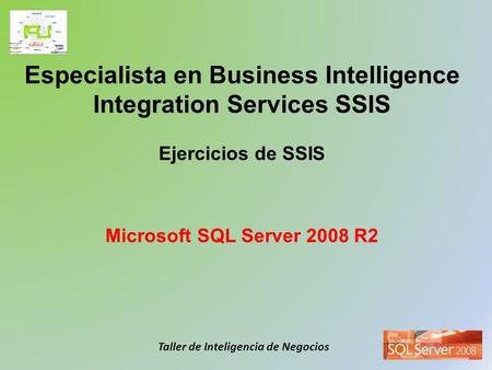 Taller de Inteligencia de Negocios Especialista en Business Intelligence Integration Services SSIS Ejercicios de SSIS Microsoft SQL Server 2008 R2.