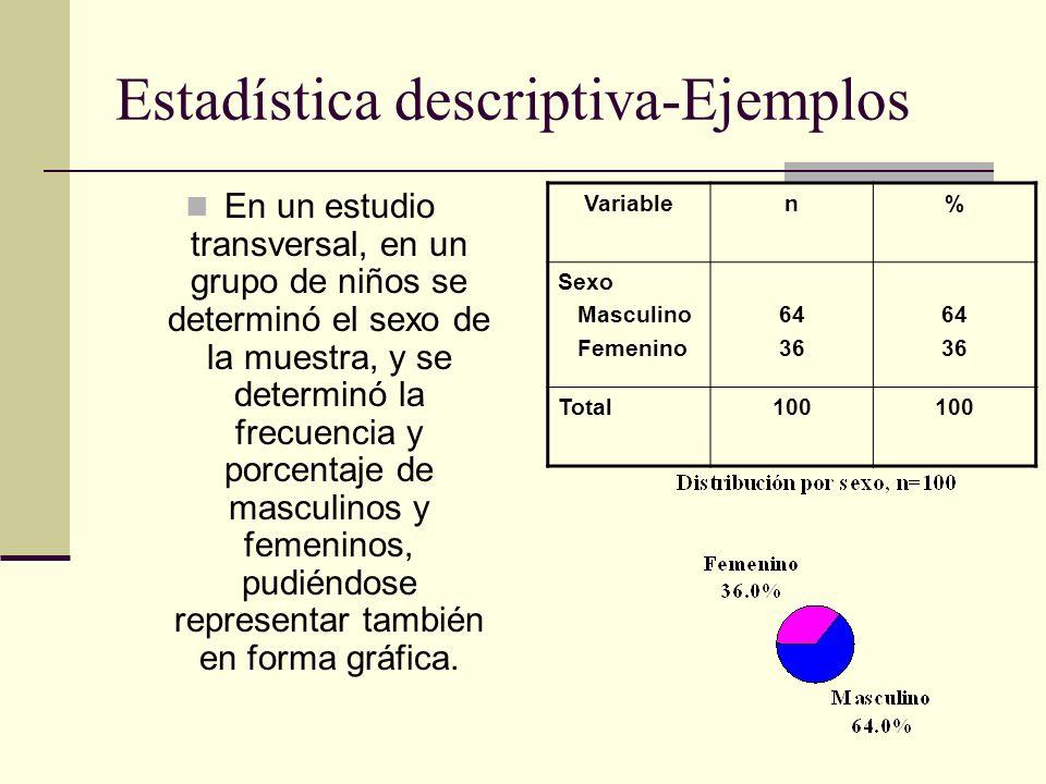 Estadística inferencial Usa la teoría de la probabilidad para extraer conclusiones acerca de una población, a partir de los datos obtenidos en una muestra.