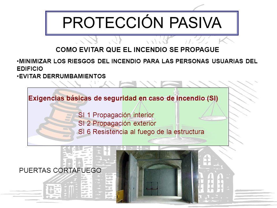 EVITAR Y GARANTIZAR LA SEGURIDAD DE LAS PERSONAS ANTE UN INCENDIO DETECCIÓN Y EXTINCIÓN DE LOS INCENDIOS CONTROL DE HUMOS PROTECCIÓN ACTIVA EXTINTORES, ALARMAS, SEÑALES… Exigencias básicas de seguridad en caso de incendio (SI) SI 4 Instalaciones de protección contra incendios SI 5 Intervención de los bomberos