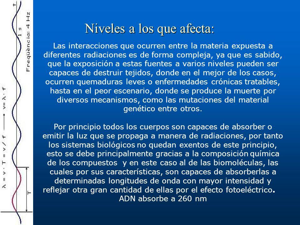 Tipos de radiaciones: No ionizantes (Luz UV) Ionizantes (protones, electrones, rayos x, etc.)
